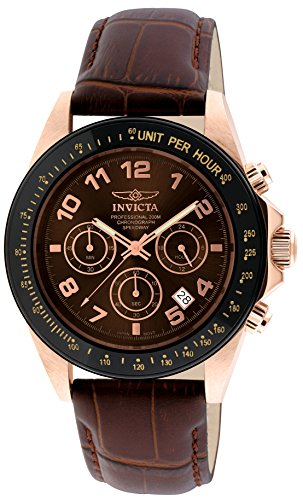 Invicta Men's 10712 Speedway Gold Ion-Plated Stainless Steel Watch with Leather Band