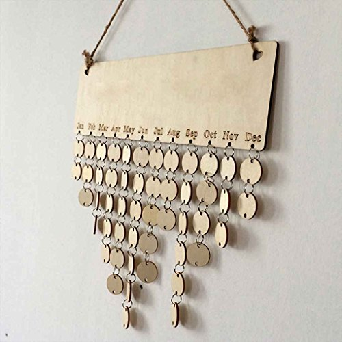 Cocoray Hanging DIY Wooden Blank Calendar Kalendar Reminder Board Plaque Sign House Decoration Pendant Tag by Cocoray (Image #4)