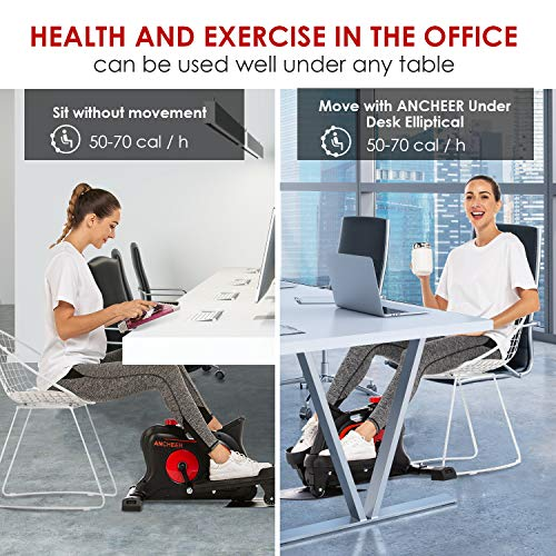 ANCHEER Under Desk Elliptical Machine, Elliptical Under Desk Bikes Trainer with Built-in Display Monitor & Unlimited Resistance & Smooth Quiet Belt Drive, Mini Strider for Home Office Use
