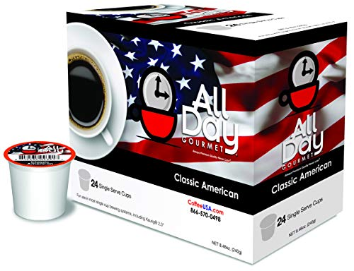 All Day Gourmet Coffee - Classic American Medium Roast K Cup Compatible Single Cup - 100% Arabica Beans Silky Smooth Aromatic Coffee - 24 Count