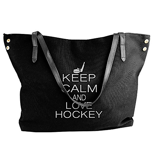 Women's Canvas Large Tote Shoulder Handbag Keep Calm And Love Hockey Hand Bag by Cotyou-6 (Image #5)