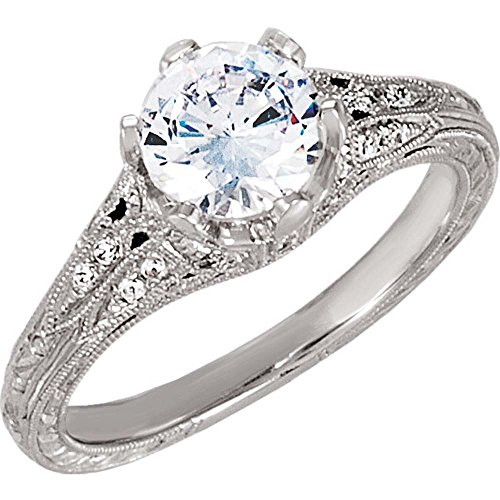Semi-Mount Hand Engraved Engagement Ring in 14k White Gold ( Size 6 -