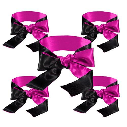 "Blindfold for games 5 pack; Satin Blindfold Sleep Mask handcuffs set super Soft & Comfortable for sleeping; Best Eye Cover Night Blinder block light for Women Men-59"" by KUCEMO (Image #3)"