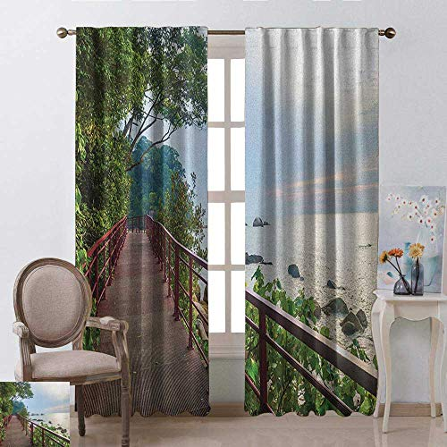 - youpinnong Beach, Curtains Bathroom Window, Walkway and Jogging Track by Sea in Cinque Terre Italian Mediterranean Vacation, Curtains Kids Room, W108 x L108 Inch, Green Chocolate