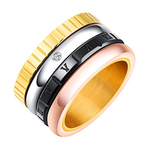 - PAMTIER Stainless Steel 12mm Wide Engagement Wedding Bands Roman Numerals Spinner Rings for Women Men Size 7