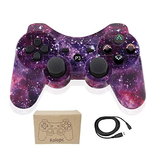 (Kolopc Wireless Bluetooth Controller for PS3 Double Shock - Bundled with USB Charge Cord (Starry Sky1111))