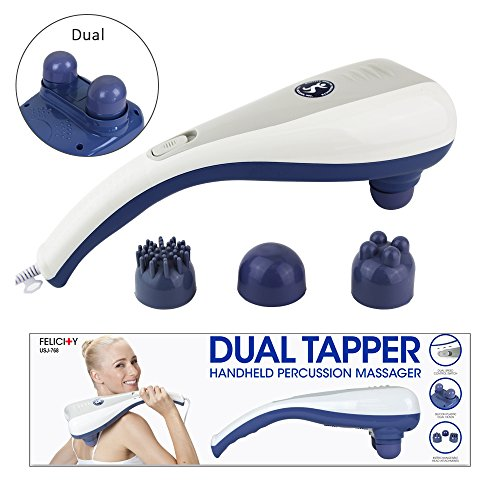 U.S. Jaclean Dual Tapper 3 Interchangeable Nodes Massager Handheld Deep Tissue Massager