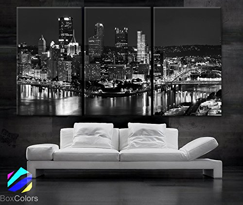 Large 30x 60 3 Panels 30x20 Ea Art Canvas Print Beautiful Pittsburgh Downtown City Skyline Black & White Wall Home (Included Framed 1.5 Depth)