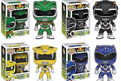 Funko Pop TV: Mighty Morphin' Power Rangers Vinyl Figures Set of 4: Blue Ranger, Green Ranger, Black Ranger & Yellow Ranger (Pink Ranger Funko Pop compare prices)