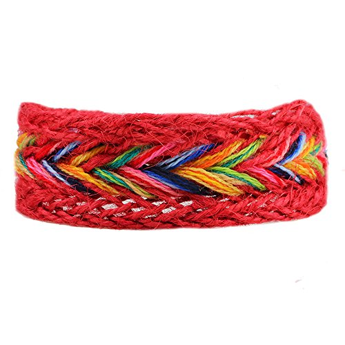 Nickel Geneva Towel (Winter's Secret Handmade Braided Seven Rainbow Color Red Hemp Rope Wrap Charming Adjustable Bracelet)