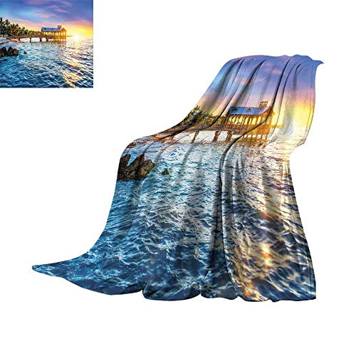 RenteriaDecor United States,Digital Printing Blanket Pier at Beach in Key West Florida USA Tropical Summer Paradise for Couch Bed Living Room W70 x L60 inch ()
