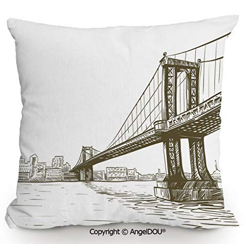 (AngelDOU Throw Pillow Cotton Linen Pillow Cover and Inserts 17.7x17.7 Inch Digital Drawn Brooklyn Bridge Unusual Graffiti Style Old Urban Cityscape Print Modern Home Office Sofa Bed Nice Decor.Brown)