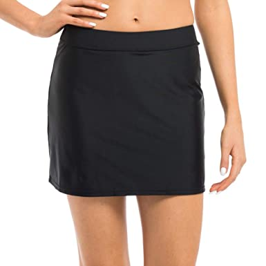 1227170cba Hilor Women s High Waist Skirted Bikini Bottom Swimsuit Skirt Swimdress 8  Black
