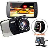Dash Cam FHD 1296P 4.0 IPS Screen 170° Wide Angle Front and Rear Dual Lens Car Camera Dashboard Camera DVR With G-Sensor Loop Recording Motion Detection Parking Monitor