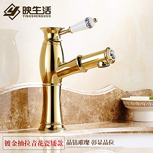 11 LHbox Basin Mixer Tap Bathroom Sink Faucet Pull-down faucet basin gold taps continental gold-copper antique hot and cold single hole basin mixer, silver-white porcelain,