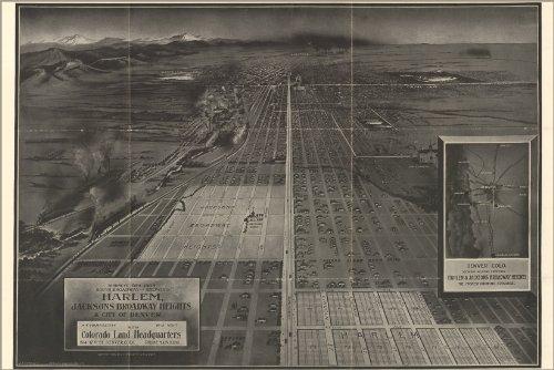 Poster Birdseye Map Harlem Broadway Heights Denver 1907