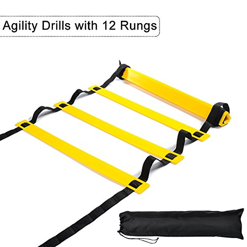 Agility Ladder, Sport Flat Agility Training Ladder Bundle, Agility Drills with 12 Rungs, Improve Footwork For movement control and Balance, Free Adjustable Length and Portable Carry Bag, 19 Feet