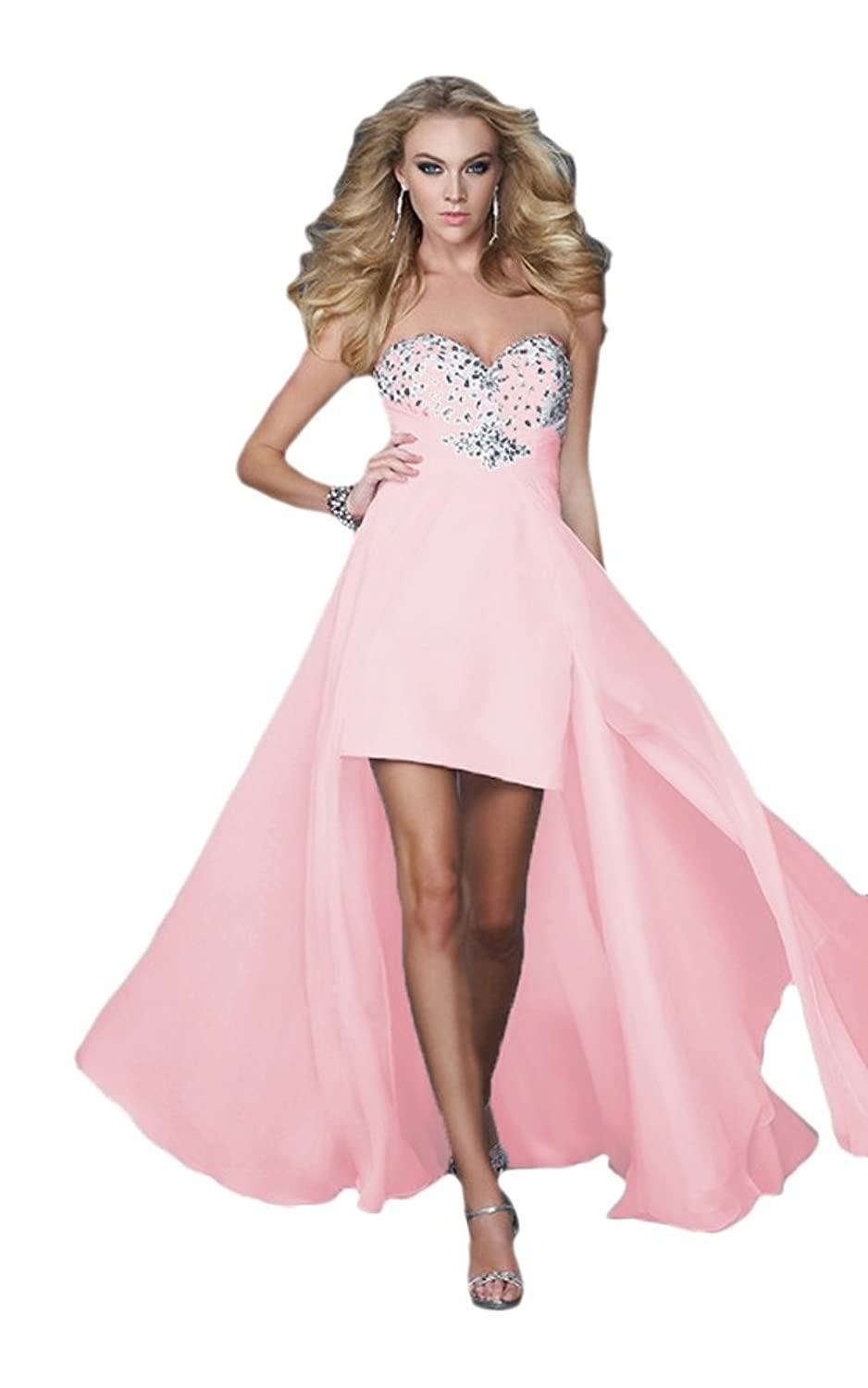Vimans? Women's High Low Pink Chiffon Sweetheart Dress for Prom Cocktail