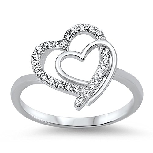 Double Interlocking Heart Clear CZ Promise Ring .925 Sterling Silver Size 7