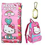 Disney Hello Kitty Sleeping Bag, Oxford Backpack, Bonus 2.5' Magnetic Carabiner Flashlight 3 Piece Camping Set
