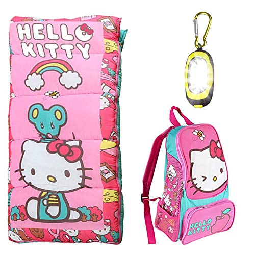 (Disney Hello Kitty Sleeping Bag, Oxford Backpack, Bonus 2.5