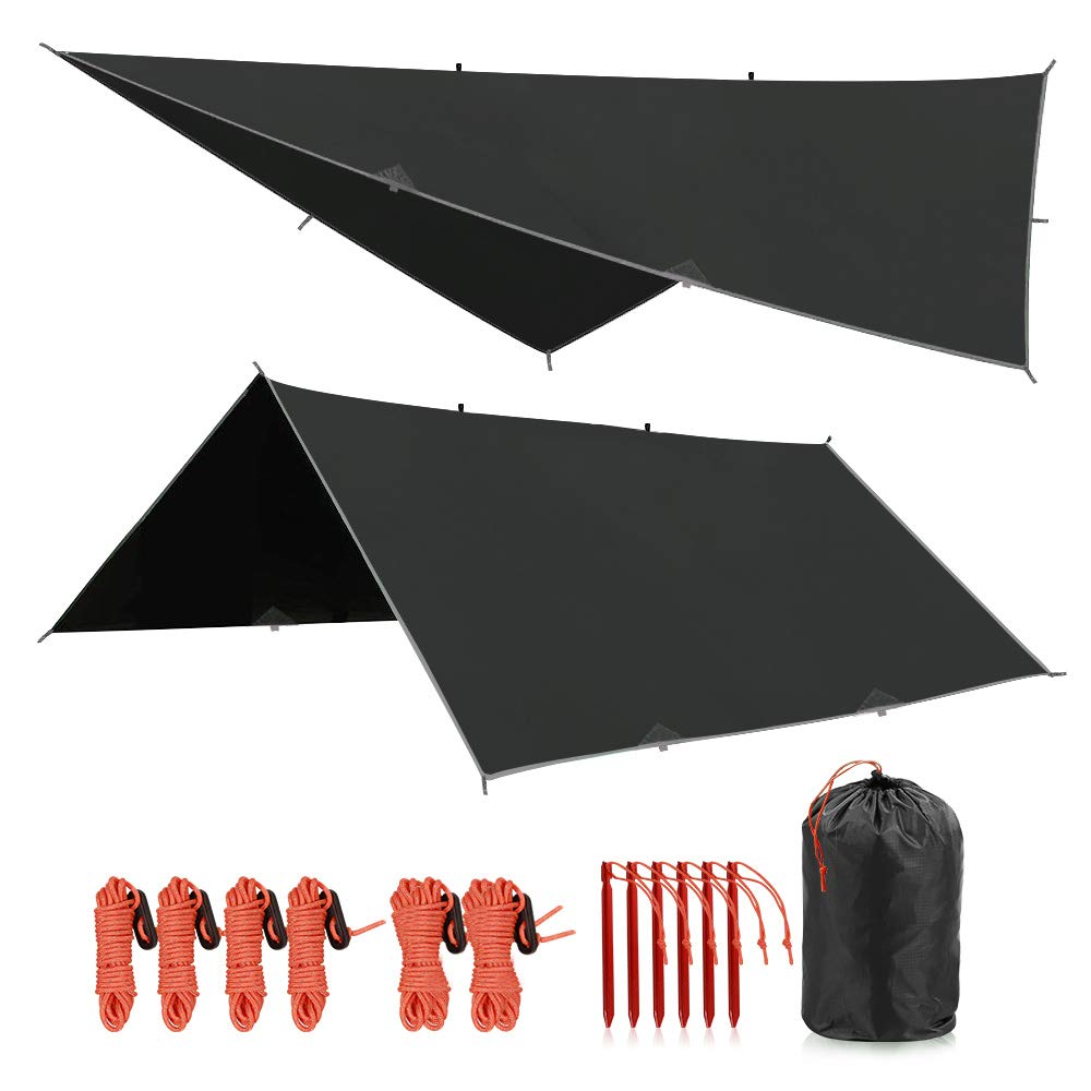 REDCAMP Hammock Rain Fly Waterproof and Lightweight, 12ft Tent Tarp for Camping Backpacking Hiking, Black by REDCAMP