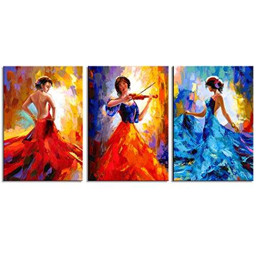 CANVASZON Large Canvas Prints Dancer Paintings Beautiful Dancing Woman Figurine Wall Art Sexy Woman Painting 16x24inchx3pcs