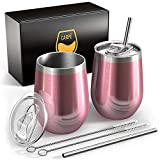 Carpe 12 oz Stemless Insulated Wine Glass Tumbler with Sliding Lid and Straw, Spill Proof Stainless Steel Double-Wall Wine Tumbler Cups for Champaign, Cocktail, Coffee, Drinks, Set of 2 (Rose Gold)