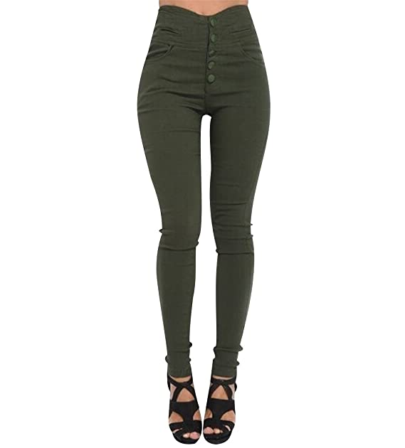 ISSHE Pantalones Cintura Alta Skinny Mujer Pantalon Slim Tiro Alto Mujer Jeggings Botón Leggins Push Up Señora Leggings Deporte Pantalones Talle Alto ...