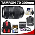 Tamron 70-300mm f/4-5.6 Di LD Macro 1:2 Zoom Lens with Built-in Motor + 3 UV/CPL/ND8 Filters + Backpack + Pouch Kit for Nikon D3200, D3300, D5200, D5300, D7000, D7100 Digital SLR Cameras by Tamron