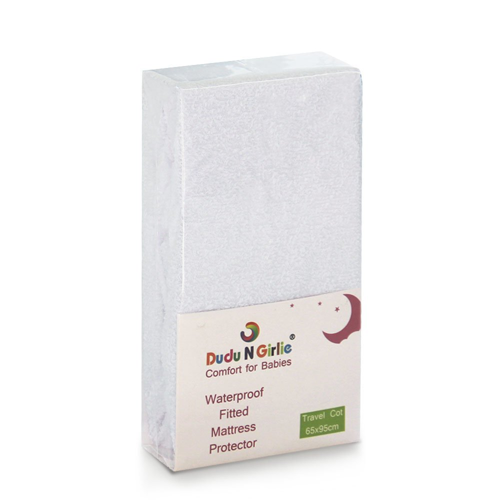 Waterproof and Breathable Terry Towelling Cotton Travel Cot Mattress Protector, 65x95cm,White. Dudu N Girlie Ltd.