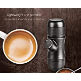 COMBO DEAL 2 for 1: Portable Hand Held Espresso Maker , Mini Manual Pressure Caffe Espresso Machine with 75ml Stainless Steel Outdoor Portable Travel Folding Cup Collapsible Telescopic Cup Travel Mug by 12SBNH
