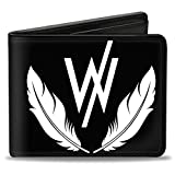 Buckle-Down Men's Wallet Sleeping With Sirens ''w'' Logo W/feathers Black/white Accessory, -Multi, One Size