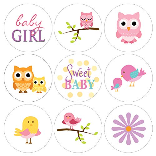 Pink Owl Baby Shower Favor Stickers - 180 Labels