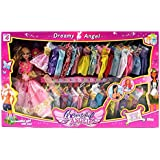 My Beautiful Angel Princess 37 Piece Toy Doll Playset w/ 34 Different Dress Outfits, Princess Doll, Hair Brush, Hair Clip