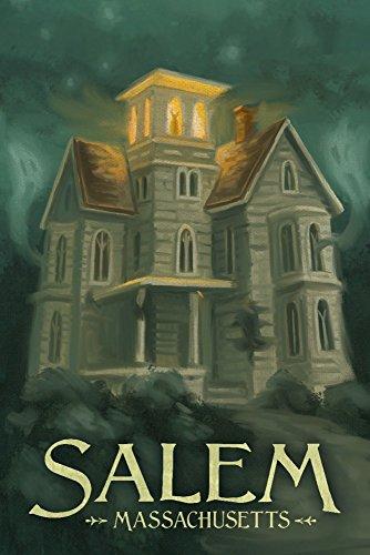 Salem, Massachusetts - Haunted House - Halloween Oil Painting (12x18 Art Print, Wall Decor Travel Poster) (Best Haunted Houses In Salem Massachusetts)