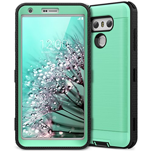 LG G6 Case, CinoCase LG G6 Plus Case Heavy Duty Rugged Armor Protective Case Hybrid TPU Bumper Shockproof Case with Brushed Metal Texture Hard PC Back for LG G6 / LG G6 Plus Mint