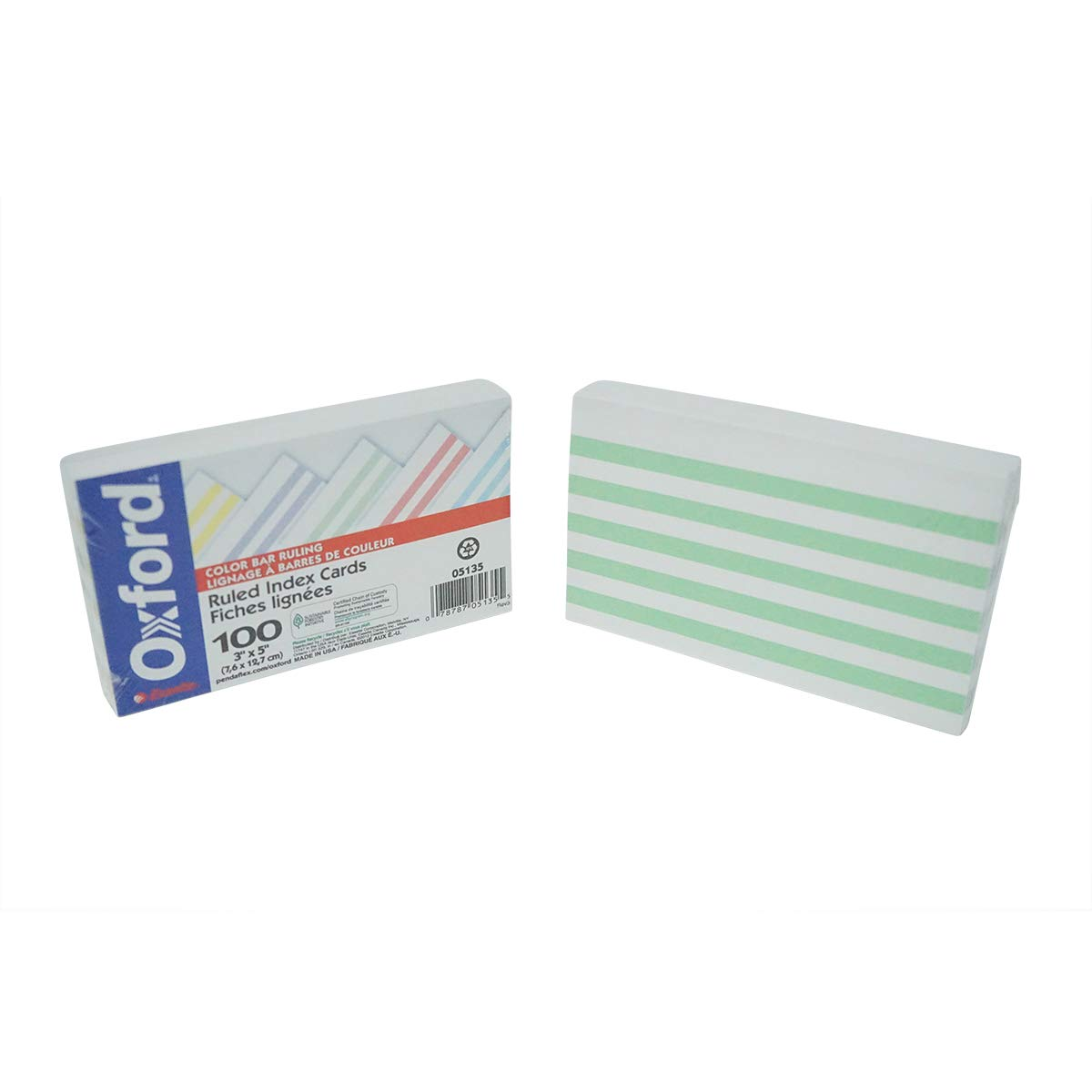 Oxford 2303730 3 x 5 in. Color Bar Ruled Index Cards - 100 Piece - Case of 72-72 Per Pack
