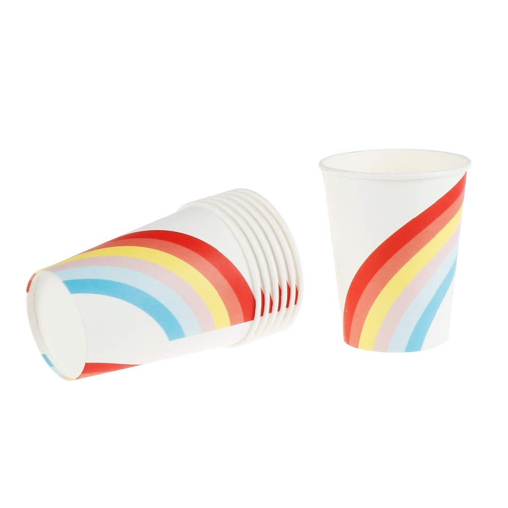 Culturemart 8 pcs Rainbow Theme Paper Cups Disposable Tableware Wedding Birthday Decorations Baby Shower Theme Festival Kids Girls Boys