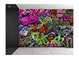 wall26 Colorful Graffiti - Large Wall Mural, Removable Peel and Stick Wallpaper, Home Decor - 66x96 inches