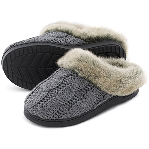 Womens Soft Yarn Cable Knit Slippers Memory Foam Anti Skid Sole