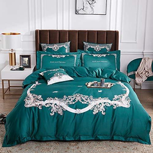 ダブルキルトカバーコットン、寝具パッケージ特大コットン100%、キルトカバー寝具キルトシーツ枕カバー4ピースコットン高級刺繍特大ダブル、ダブル、グリーンホワイト