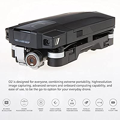 KXN GDU O2 Foldable Quadcopter Drone Combo Pack with 4K Professional Camera, Build-In Memory 16 GB Drone Starters Bundle