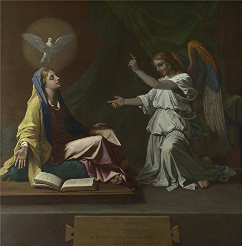 Oil Painting 'Nicolas Poussin The Annunciation', 10 x 10 inch / 25 x 26 cm , on High Definition HD canvas prints is for Gifts And Dining Room, Home Office - Centre Whitfords Shopping