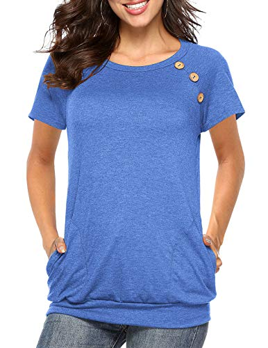Womens Button Short Sleeve Tops Casual Blouses T-Shirt Round Neck Pockets Top Blue ()