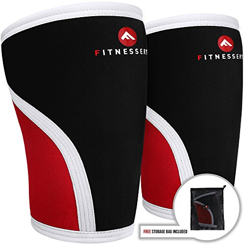 Fitnessery 7mm Knee Sleeves: Neoprene Knee Sleeves for Knee Support - for CrossFit, Weight Lifting, Powerlifting - Mesh Storage Bag Included - Compression Sleeve x 2