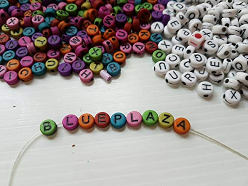 Letter Beads Kit Alphabet Bead A-z Bulk 800 Pcs Colorful White Round Shape Size 6mm - Acrylic Beads Lettered Bracelets DIY Jewelry Accessories Making for Kids Women Girls Children