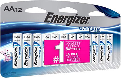 12 Pack Aa Alkaline Batteries - Energizer AA Lithium Batteries, World's Longest Lasting Double A Battery, Ultimate Lithium (12 Count)
