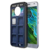 Moto X4 Case, Capsule-Case Hybrid Slim Hard Back Shield Case with Fused TPU Edge Bumper (Black) for Motorola Moto X4 (Moto X 4th Generation) - (Blue Phone Booth)