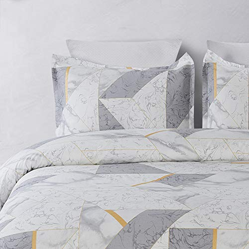Vaulia 100% Cotton Duvet Cover Sets, Geometric Pattern Design, Twill Weave Fabric Structure - Grey/Brown Color, King ()